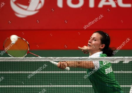 Linda Zetchiri of Bulgaria in Action Against Bae Yeon Ju of South Korea During Their Women's Singles Qualification Match at the Badminton 2015 Total Bwf World Championships in Jakarta Indonesia 12 August 2015 Indonesia Jakarta