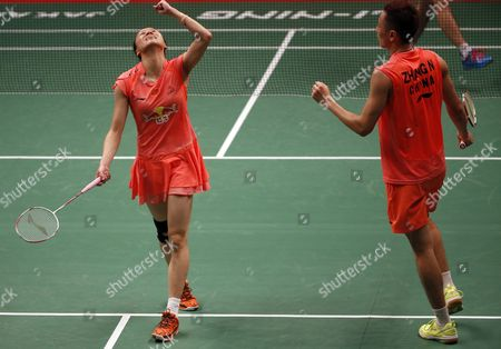 Stock Photo of Zhang Nan (r) and Zhao Yunlei of China React During Their Mixed Doubles Final Match Against Lie Chen and Bao Yixing of China at the Total Bwf Badminton World Championships in Jakarta Indonesia 16 August 2015 Indonesia Jakarta