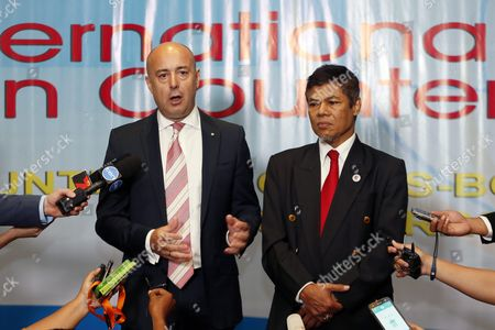 The Chief Executive of the Australian Transaction Reports and Analysis Centre (austrac) Paul Jevtovic (l) and the Chairman of Indonesias Financial Transaction Reports and Analysis Center (ppatk) Muhammad Yusuf (r) Talks to Media During the International Meeting on Counter Terrorism in Nusadua Bali Indonesia 10 August 2016 the Indonesian Resort Island of Bali is Hosting the International Meeting on Counter Terrorism and the Second Counter-terrorism Financing Summit to Attempt to Facilitate International Coordination of Efforts to Combat Radicalism Through Intelligence Sharing and the Strengthening of Counter-terrorism Strategies Indonesia Nusadua