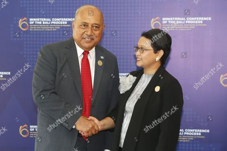 Indonesian Foreign Minister Retno Marsudi (r) Greets Fijian Foreign Minister Ratu Inoke Kubuabola (l) During the Bali Process Ministerial Conference on People Smuggling Trafficking in Persons and Related Transnational Crime in Nusadua Bali Indonesia 23 March 2016 Bali is Hosting the Sixth Bali Process Ministerial Conference Attended by 45 Countries Along with the United Nations High Commissioner For Refugees (unhcr) the International Organization For Migration (iom) and Other Observer Countries the Conference Aims to Boost Collective Efforts to Address People Smuggling Human Trafficking and Response to Emerging Issues Surrounding Asylum Seekers and Refugees Indonesia Nusadua