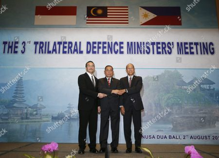 (l-r) Malaysian Minister of Defense Hishammuddin Hussein Indonesian Defense Minister General Ryamizard Ryacudu and Philippines Defense Secretary Delfin Lorenzana Pose For a Portrait at the Third Trilateral Defence Minister Meeting in Nusadua Bali Indonesia 02 August 2016 Bali is Hosting the Third Trilateral Defence Ministerial Meeting Between Indonesia Malaysia and Philippines From 01 to 02 August 2016 with Discussions Pertaining to Security Measures in the Maritime Region of the Sulu Sea on the Agenda Indonesia Nusadua