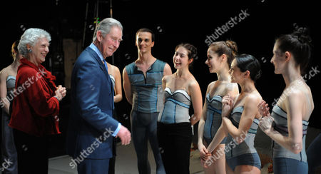 Royal Ballet Director Monica Mason introduces Prince Charles to ballet dancers in rehearsals