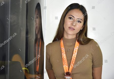 Jessica Michibata Wife of British Formula One Driver Jenson Button of Mclaren-honda in the Team's Garage During the Third Practice Session of the Japanese Formula One Grand Prix at the Suzuka Circuit in Suzuka Central Japan 26 September 2015 the Japanese Formula One Grand Prix Will Be Held on 27 September 2015 Japan Suzuka
