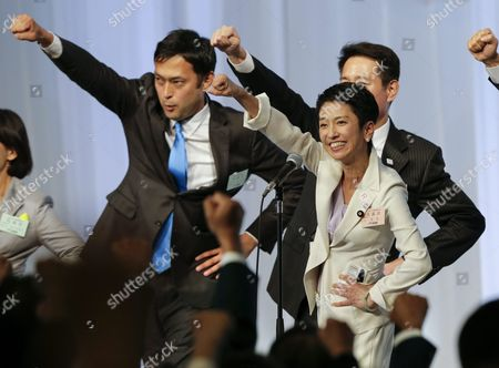 Renho Murata (r) Raises Her First While Chanting a Slogan Encouraging Themselves During a Convention Selecting Japan's Main Opposition Democratic Party's New Chief in Tokyo Japan 15 September 2016 Renho Murata Has Been Appointed As First Female Leader of the Party She Succeeds Katsuya Okada Japan Tokyo