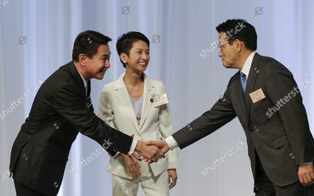 Renho Murata (c) and Her Contender Seiji Maehara (l) Greet Present Party Chief Katsuya Okada During a Convention Selecting Japan's Main Opposition Democratic Party's New Chief in Tokyo Japan 15 September 2016 Renho Murata Has Been Appointed As First Female Leader of the Party She Succeeds Katsuya Okada Japan Tokyo