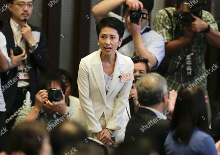 Renho Murata (c) Acknowledges Her Win During a Convention Selecting Japan's Main Opposition Democratic Party's New Chief in Tokyo Japan 15 September 2016 Renho Murata Has Been Appointed As First Female Leader of the Party She Succeeds Katsuya Okada Japan Tokyo