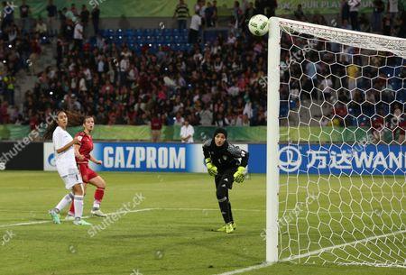 Jordan's Goalkeeper Rand Bustanji (r) Saves a Shot During the Fifa U-17 Women's World Cup Game Between Jordan and Spain at Amman International Stadium in Amman Jordan 30 September 2016 Spain Won 5 - 0 Jordan Amman