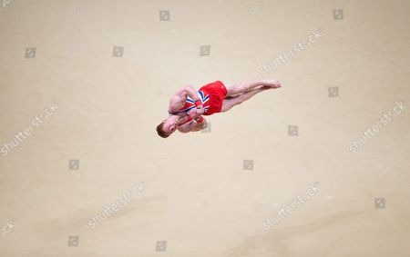 Daniel Purvis of Britain Performs on the Floor During the Men's All-around Finals on Day Eight at the 46th Fig Artistic Gymnastics World Championships in Glasgow Britain 30 October 2015 United Kingdom Glasgow