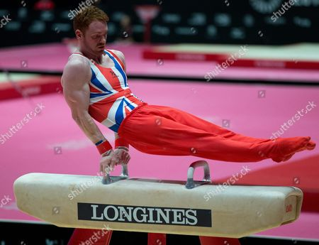 Daniel Purvis of Great Britain Performs on the Pommel Horse During the Men's All-around Finals on Day Eight at the 46th Fig Artistic Gymnastics World Championships in Glasgow Britain 30 October 2015 United Kingdom Glasgow