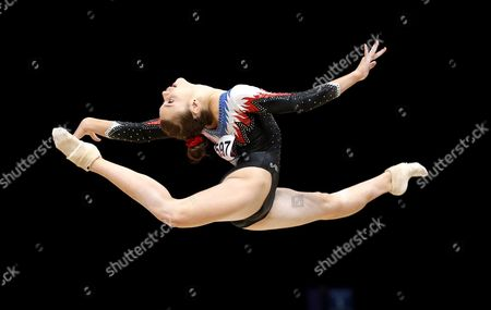 Stock Photo of Claire Martin of France Performs on the Floor at the 46th Fig Artistic Gymnastics World Championships in Glasgow Britain 24 October 2015 United Kingdom Glasgow