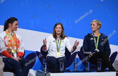 British Olympians Helen Richardson-walsh(c) Sarah Storey (l) and Vicky Thornley Speak During the Conservative Conference in Birmingham Britain 03 October 2016 United Kingdom Birmingham