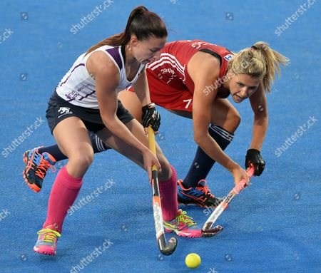 England's Georgie Twigg (r) Fights For the Ball with Scotland's Becky Ward (l) During the Eurohockey 2015 Women's Match Between England and Scotland at the Lee Valley Hockey Centre Queen Elizabeth Olympic Park in London Britain 22 August 2015 United Kingdom London