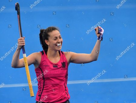 Stock Photo of Scotland's Emily Maguire Celebrates After Scotland Scored During the Eurohockey 2015 Women's Match Between Scotland and Italy at the Lee Valley Hockey Centre Queen Elizabeth Olympic Park in London Britain 26 August 2015 United Kingdom London