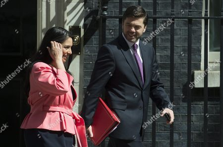 British Secretary For Work and Pensions Stephen Crabb (r) and Minister For Employment Priti Pratel (l) Leaves No10 Downing Street After Attending a Cabinet Meeting in London Britain 05 July 2016 Crabb is One of the Candidates For Conservative Party Leadership to Succeed David Cameron Tory Mps Have Started Voting on the Party's Leadership United Kingdom London