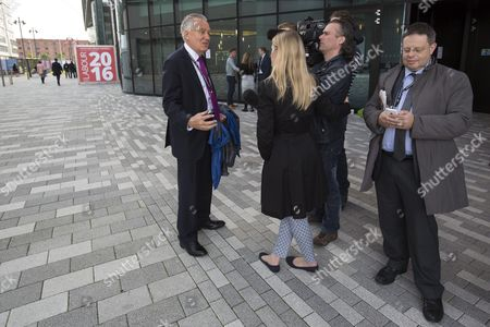 Peter Hain (l) Former Leader of the House of Commons Speaks to Reporters Upon His Arrival For the Third Day of the Labour Party Conference in Liverpool Britain 27 September 2016 Britain's Labour Party Annual Conference 2016 Takes Place in Liverpool From 25 to 28 September 2016 United Kingdom Liverpool