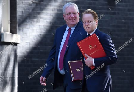 British Minister For the Cabinet Office and Paymaster General Ben Gummer (r) with Chancellor of the Duchy of Lancaster Patrick Mcloughlin (l) Arrive For a Cabinet Meeting at Number 10 Downing Street in London 19 July 2016 British Prime Minister Theresa May Held Her First Cabinet Meeting 19 July 2016 United Kingdom London
