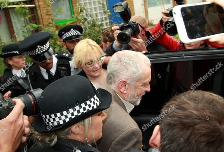 Britain's Labour Party Leader Jeremy Corbyn (c) Leaves His Home in North London Britain 27 June 2016 Others Are not Identified Following the Sacking of Hillary Benn the Party's Shadow Foreign Secretary Around 16 Labour Party Members Resigned on 26 June in Protest of Corbyn's Poor Leadership During the Referendum Campaign United Kingdom London