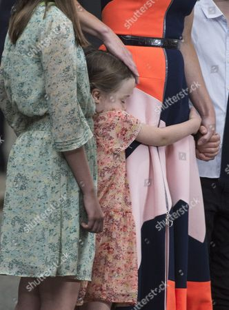 Stock Image of Florence Cameron the Youngest Child of British Prime Minister David Cameron Holds Onto Her Mother Samantha Cameron As David Cameron Delivers a Speech Before Heading to Buckingham Palace to Formally Resign As British Prime Minister to Queen Elizabeth Ii London Britain 13 July 2016 Home Secretary Teresa May Will Take Over From Mr Cameron As British Prime Minister Later the Same Day United Kingdom London