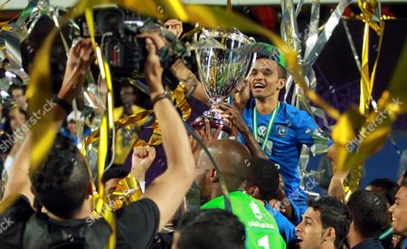 Al Hilal Player Mohammed Al-breik Celebrates with Teammates Winning the Saudi Super Cup Final Between Al-nassr and Al-hilal at Loftus Road Stadium in West London Britain 12 August 2015 United Kingdom London