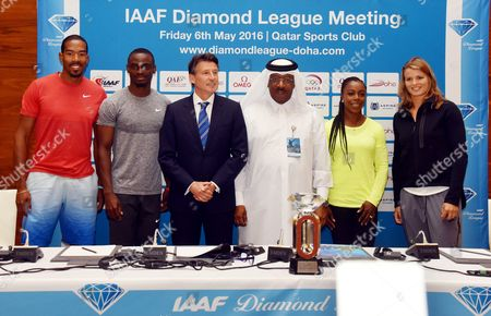 (l-r) American Christian Taylor Qatari Femi Ogunode President of the International Association of Athletics Federation (iaaf) Sebastian Coe President of the Qatar Athletics Federation (qaf) Dahlan Al Hamad Jamaica's Veronica Campbell-brown and Dutch Dafne Schippers Pose For Photo During the Press Conference a Day Before the Iaaf Diamond League in Doha Qatar 05 May 2016 the Iaaf Diamond League in Doha Will Take Place on 06 May Qatar Doha