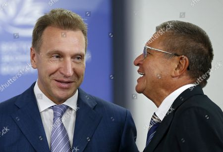 Russian Minister of Economic Development Alexei Ulyukayev (r) Speaks with Russian First Deputy Prime Minister Igor Shuvalov (l) at the Sidelines of the Eastern Economic Forum in Vladivostok Russia 02 September 2016 the Eastern Economic Forum 2016 is Held in Vladivostok on 02 and 03 September by Decree of President Putin and Aimed to Attract Billions of Us Dollars Investments Into the Russian Economy Russian Federation Vladivostok