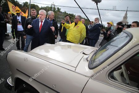 Sergei Mironov (c-l) Leader of the Just Russia Party Takes Part in a Rally of Soviet Era Cars During His Parliament Elections Campaign in Moscow Russia 14 September 2016 Parliamentary Elections in Russia Are Scheduled to Be Held on 18 September 2016 Russian Federation Moscow