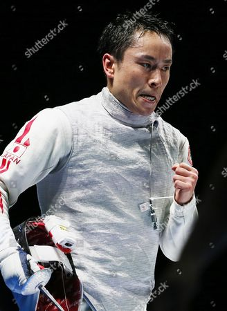 Yuki Ota of Japan Reacts After Beating Alexander Massialas of the Usa in Their Men's Foil Individual Final of the World Fencing Championships in Moscow Russia 16 July 2015 Ota Won the Gold Medal Russian Federation Moscow