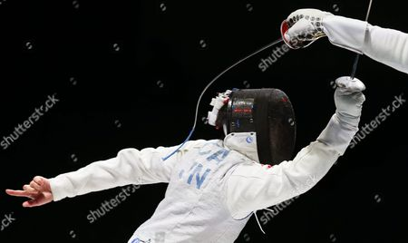 Yuki Ota (l) of Japan in Action Against Gerek Meinhardt (r) of the Usa During Their Men's Foil Individual Semi Final Bout of the World Fencing Championships in Moscow Russia 16 July 2015 Russian Federation Moscow