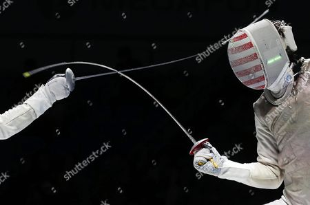 Yuki Ota (l) of Japan in Action Against Alexander Massialas (r) of the Usa During Their Men's Foil Individual Final of the World Fencing Championships in Moscow Russia 16 July 2015 Ota Won the Gold Medal Russian Federation Moscow