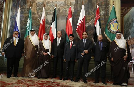 (l-r) Bahraini Foreign Minister Sheikh Khalid Bin Ahmed Al-khalifa Kuwait's Foreign Minister Sheikh Sabah Al Khalid Al Sabah Saudi Arabian Foreign Minister Adel Al-jubeir Russian Foreign Minister Sergei Lavrov Oman's Foreign Minister Yusuf Bin Alawi Bin Abdullah Qatar's Foreign Minister Mohammed Bin Abdulrahman Bin Jassim Al-thani Uae Minister of State For Foreign Affairs Anwar Gargash and Secretary-general of the Gulf Cooperation Council (gcc) Abdullatif Bin Rashid Al Zayani Pose During the Family Photo of the 4th Meeting of the Strategic Dialogue Russia-cooperation Council For the Arab States of the Gulf Or the Gulf Cooperation Council (gcc) in Moscow Russia 26 May 2016 Russian Federation Moscow