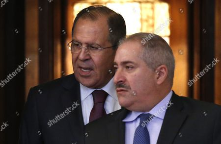 Russian Foreign Minister Sergei Lavrov (l) and Jordanian Foreign Minister Nasser Judeh Arrive For Talks in Moscow Russia 09 June 2016 Russian Federation Moscow