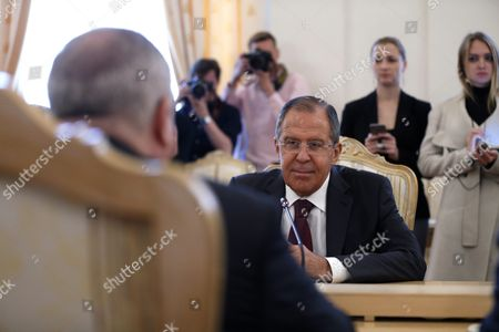 Russian Foreign Minister Sergei Lavrov (r) and Jordanian Foreign Minister Nasser Judeh (l) Talk During Their Meeting in Moscow Russia 09 June 2016 Russian Federation Moscow