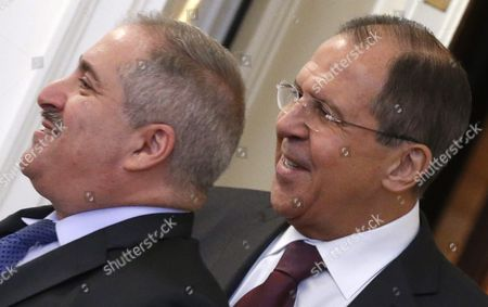 Russian Foreign Minister Sergei Lavrov (r) and Jordanian Foreign Minister Nasser Judeh Arrive For Talks in Moscow Russia 09 June 2016 Russian Federation Moscow