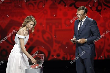 Russian Model Natalia Vodianova (l) and Fifa Secretary General Jerome Valcke (r) Conduct the Preliminary Draw of the Fifa World Cup 2018 at Konstantinovsky Palace Outside St Petersburg Russia 25 July 2015 St Petersburg is One of the Host Cities of the Fifa World Cup 2018 in Russia Which Will Take Place From 14 June Until 15 July 2018 Russian Federation St.petersburg