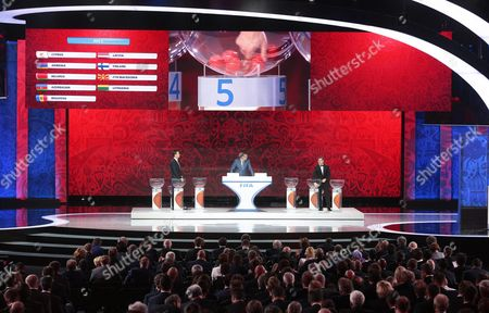 Fifa Secretary General Jerome Valcke (c) and Draw Assistants Oliver Bierhoff (l) and Alexander Kerzhakov (r) Conduct the Preliminary Draw of the Fifa World Cup 2018 at Konstantinovsky Palace Outside St Petersburg Russia 25 July 2015 St Petersburg is One of the Host Cities of the Fifa World Cup 2018 in Russia Which Will Take Place From 14 June Until 15 July 2018 Russian Federation St.petersburg