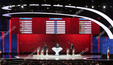 Fifa Secretary General Jerome Valcke (c) and Draw Assistants Samuel Eto'o (l) and Rinat Dassayev (r) Conduct the Preliminary Draw of the Fifa World Cup 2018 at Konstantinovsky Palace Outside St Petersburg Russia 25 July 2015 St Petersburg is One of the Host Cities of the Fifa World Cup 2018 in Russia Which Will Take Place From 14 June Until 15 July 2018 Russian Federation St.petersburg
