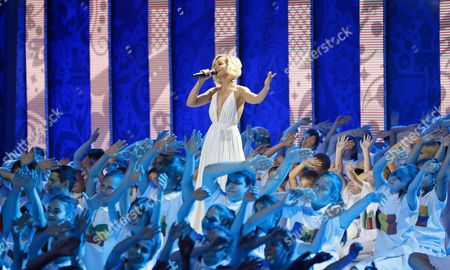 Russian Singer Polina Gagarina Performs During the Preliminary Draw of the Fifa World Cup 2018 at Konstantinovsky Palace Outside St Petersburg Russia 25 July 2015 St Petersburg is One of the Host Cities of the Fifa World Cup 2018 in Russia Which Will Take Place From 14 June Until 15 July 2018 Russian Federation St.petersburg