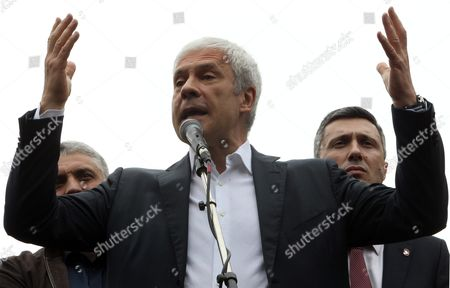 Former Serbian President Boris Tadic (c) Speaks to Supporters During an Opposition Rally in Belgrade Serbia 30 April 2016 where Thousands of Opposition Supporters Gathered in Front of the Serbian State Electoral Commission Opposition Parties in Serbia United For a Protest Against what They Claim was Vote Rigging in the Country Recent Parliament Elections in Favour of the Center-right Serbian Progressive Party of Prime Minister Aleksandar Vucic Serbia and Montenegro Belgrade