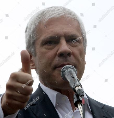 Stock Image of Former Serbian President Boris Tadic Gestures While Speaking to Supporters During an Opposition Rally in Belgrade Serbia 30 April 2016 where Thousands of Opposition Supporters Gathered in Front of the Serbian State Electoral Commission Opposition Parties in Serbia United For a Protest Against what They Claim was Vote Rigging in the Country Recent Parliament Elections in Favour of the Center-right Serbian Progressive Party of Prime Minister Aleksandar Vucic Serbia and Montenegro Belgrade