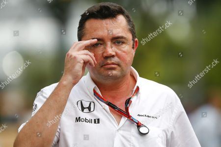 Mclaren Team Chief Eric Boullier Walks on the Paddock Before the Singapore Formula One Grand Prix Night Race in Singapore 17 September 2015 the Singapore Formula One Grand Prix Night Race Will Take Place on 20 September 2015 Singapore Singapore