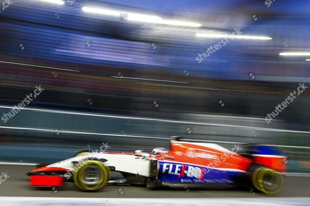British Formula One Driver Will Stevens of Manor Marussia F1 Team in Action During the First Practice Session at the Singapore Formula One Grand Prix Night Race in Singapore 18 September 2015 the Singapore Formula One Grand Prix Night Race Will Take Place on 20 September 2015 Singapore Singapore