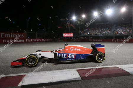 British Formula One Driver Will Stevens of Manor Marussia F1 Team in Action During the Singapore Formula One Grand Prix Night Race in Singapore 20 September 2015 Singapore Singapore