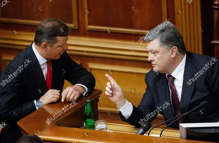 Ukrainian President Petro Poroshenko (r) Speaks with the Leader of the Ukrainian Radical Party Oleg Lyashko (l) During a Parliament Session in Kiev Ukraine 12 May 2016 Yuriy Lutsenko (not Pictured) was Appointed New Prosecutor-general of Ukraine to Replace Viktor Shokin who was Dismissed From This Post on 29 March 2016 Ukraine Kiev
