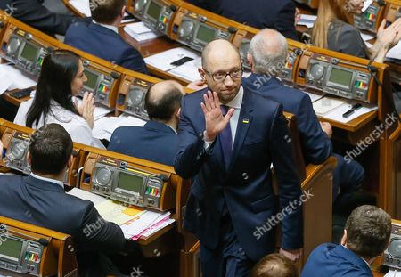 Arseniy Yatsenyuk (c) Leaves the Ukrainian Parliament During a Session in Kiev Ukraine 14 April 2016 the Ukrainian Parliament on 14 April 2016 Appointed Parliament Speaker Volodymyr Groysman to the Post of the Prime Minister of Ukraine After Dismissing Arseniy Yatsenyuk From His Post a Majority of the Ukrainian Lawmakers Earlier Had Accused Yatsenyuk of Being Unable to Combat Corruption and to Introduce Structural Reforms Demanded by the International Community Ukraine Kiev