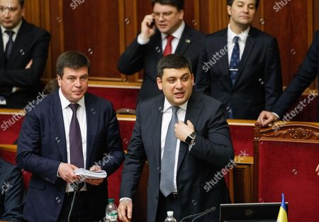 Newly Elected Ukrainian Prime Minister Volodymyr Groysman (c) with the Ministers of the New Government of Ukraine Reacts During a Session of Ukrainian Parliament in Kiev Ukraine 14 April 2016 the Ukrainian Parliament on 14 April 2016 Appointed Parliament Speaker Volodymyr Groysman to the Post of the Prime Minister of Ukraine After Dismissing Arseniy Yatsenyuk From His Post a Majority of the Ukrainian Lawmakers Earlier Had Accused Yatsenyuk of Being Unable to Combat Corruption and to Introduce Structural Reforms Demanded by the International Community Ukraine Kiev