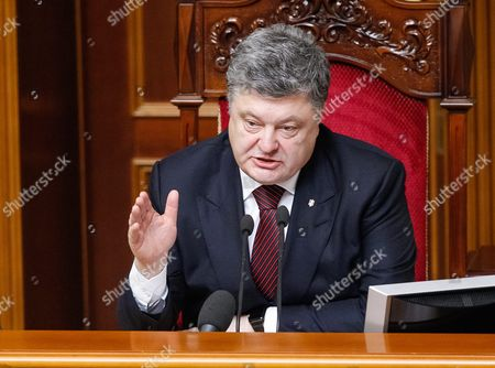 Ukrainian President Petro Poroshenko Speaks to Lawmakers During a Session of Ukrainian Parliament in Kiev Ukraine 14 April 2016 the Ukrainian Parliament on 14 April 2016 Appointed Parliament Speaker Volodymyr Groysman to the Post of the Prime Minister of Ukraine After Dismissing Arseniy Yatsenyuk From His Post a Majority of the Ukrainian Lawmakers Earlier Had Accused Yatsenyuk of Being Unable to Combat Corruption and to Introduce Structural Reforms Demanded by the International Community Ukraine Kiev