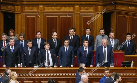 Ministers of the New Government of Ukraine Stand After They Were Elected During a Session of the Ukrainian Parliament in Kiev Ukraine 14 April 2016 the Ukrainian Parliament on 14 April 2016 Appointed Parliament Speaker Volodymyr Groysman to the Post of the Prime Minister of Ukraine After Dismissing Arseniy Yatsenyuk a Majority of the Ukrainian Lawmakers Earlier Had Accused Yatsenyuk of Being Unable to Combat Corruption and to Introduce Structural Reforms Demanded by the International Community Ukraine Kiev