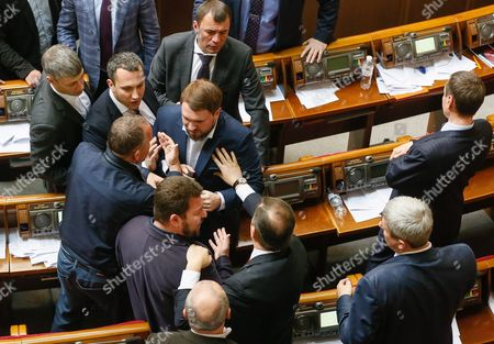Lawmakers of the Ukrainian Parliament Push Each Other During a Session in Kiev Ukraine 14 April 2016 the Ukrainian Parliament on 14 April 2016 Appointed Parliament Speaker Volodymyr Groysman to the Post of the Prime Minister of Ukraine After Dismissing Arseniy Yatsenyuk From His Post a Majority of the Ukrainian Lawmakers Earlier Had Accused Yatsenyuk of Being Unable to Combat Corruption and to Introduce Structural Reforms Demanded by the International Community Ukraine Kiev