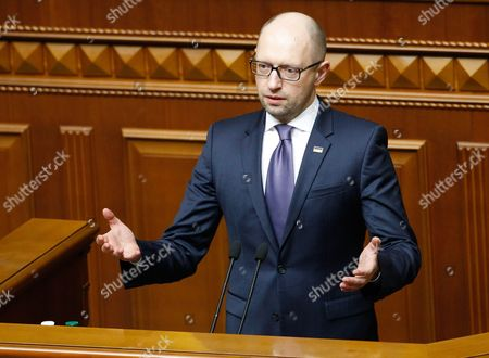 Arseniy Yatsenyuk Speaks to Lawmakers of the Ukrainian Parliament During a Session in Kiev Ukraine 14 April 2016 the Ukrainian Parliament on 14 April 2016 Appointed Parliament Speaker Volodymyr Groysman to the Post of the Prime Minister of Ukraine After Dismissing Arseniy Yatsenyuk From His Post a Majority of the Ukrainian Lawmakers Earlier Had Accused Yatsenyuk of Being Unable to Combat Corruption and to Introduce Structural Reforms Demanded by the International Community Ukraine Kiev