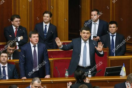 Newly Elected Ukrainian Prime Minister Volodymyr Groysman (c-r) with the Ministers of the New Government of Ukraine During a Session of Ukrainian Parliament in Kiev Ukraine 14 April 2016 the Ukrainian Parliament on 14 April 2016 Appointed Parliament Speaker Volodymyr Groysman to the Post of the Prime Minister of Ukraine After Dismissing Arseniy Yatsenyuk From His Post a Majority of the Ukrainian Lawmakers Earlier Had Accused Yatsenyuk of Being Unable to Combat Corruption and to Introduce Structural Reforms Demanded by the International Community Ukraine Kiev